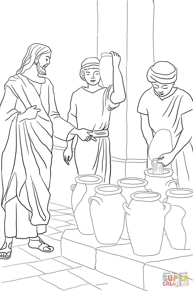 Jesus Turns Water Into Wine Coloring Page