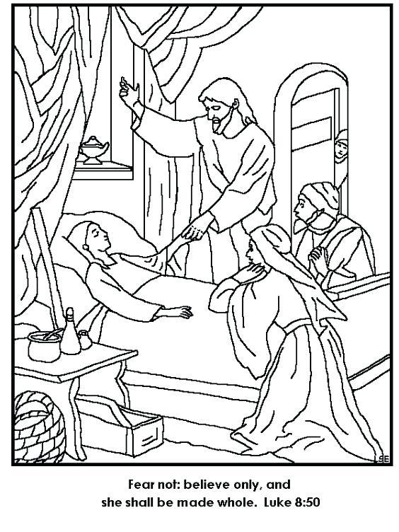 564x752 Jesus Heals Jairus Daughter Coloring Page Miracles Of Is Turn