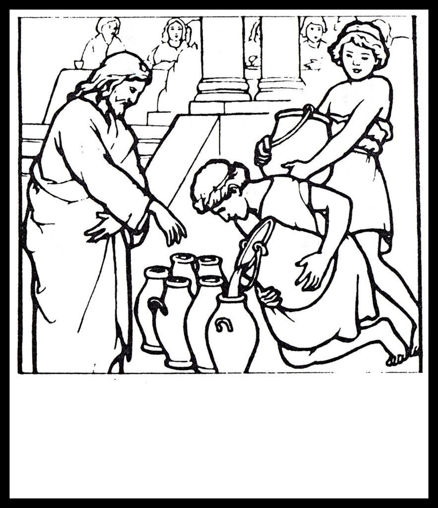 883x1024 Jesus Turns Water Into Wine Coloring Page Extraordinary Jesus
