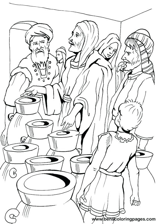 619x873 Jesus Turns Water Into Wine Coloring Page Fair Miracles Of Jesus