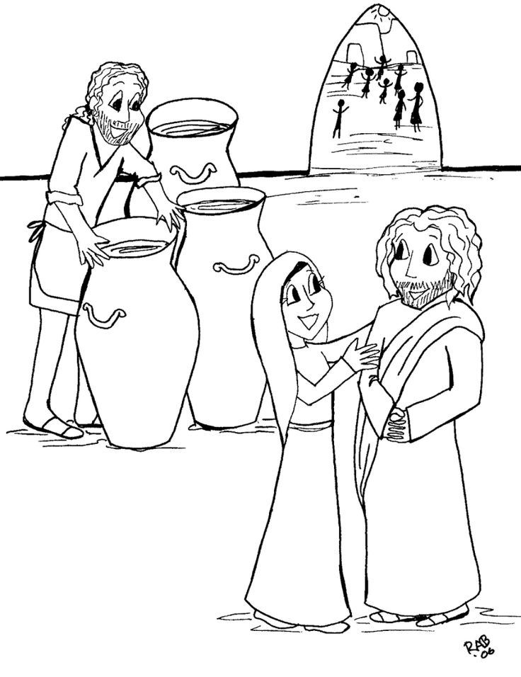 736x956 Jesus Turns Water Into Wine Coloring Page Fascinating Jesus Turns