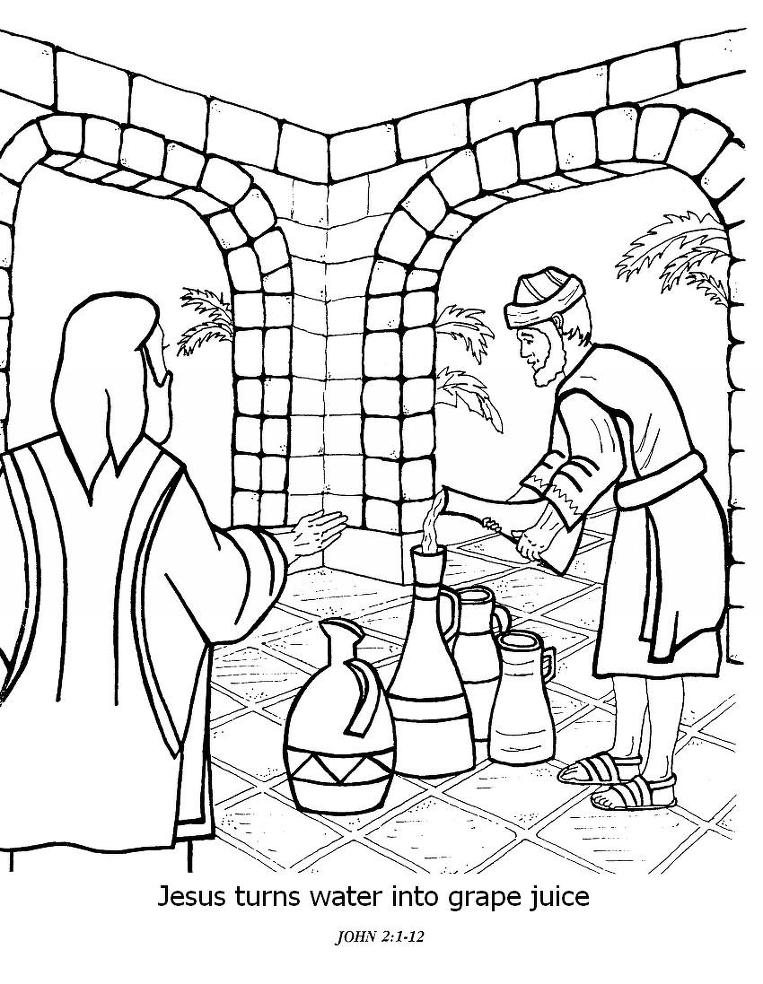 763x984 Jesus Turns Water Into Wine Coloring Page Glamorous Water Into