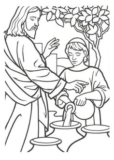 236x330 Miracles Of Jesus Is Turn Water Into Wine Coloring Page Church