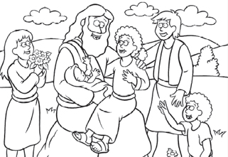 321x221 Free Coloring Page Jesus And The Children
