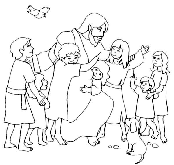 600x566 Jesus And Children Coloring Pages Jesus And The Children Coloring