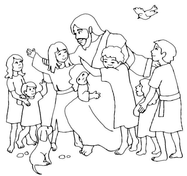 640x604 Jesus With Children Coloring Page Love Coloring Sheets