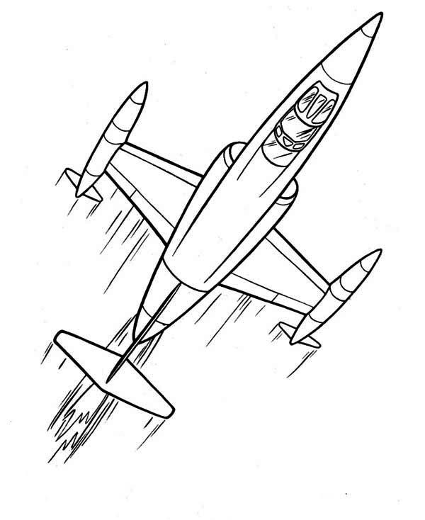 600x734 Cartoon Futuristic Jet Plane Coloring Page