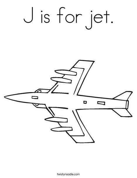 468x605 J Is For Jet Coloring Page