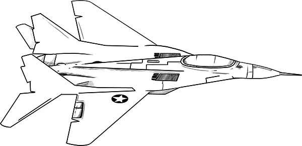 600x290 Army Airplane Coloring Pages Attractive Fighter Jet Coloring Page