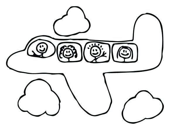 580x435 Printable Airplane Coloring Pages