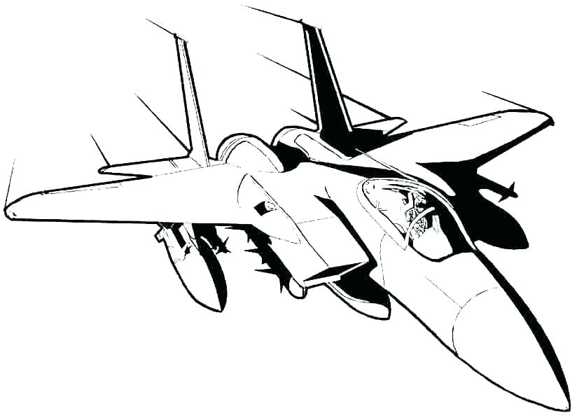 824x600 Jet Coloring Page