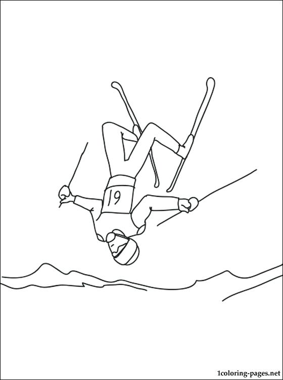 560x750 Skiing Coloring Page