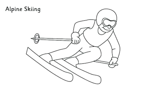 600x424 Skiing Coloring Pages Alpine Skiing Coloring Page Coloring Sky Jet