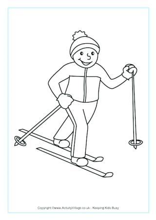 320x452 Skiing Coloring Pages Cross Country Skiing Colouring Page Jet Ski