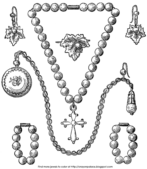 605x697 Jewelry Coloring Pages Pearl Jewelry Coloring Page Crayon Palace S