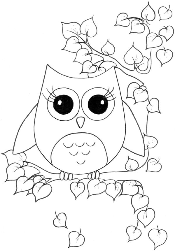600x861 Cute Sweetheart Owl Coloring Page For Kiddos