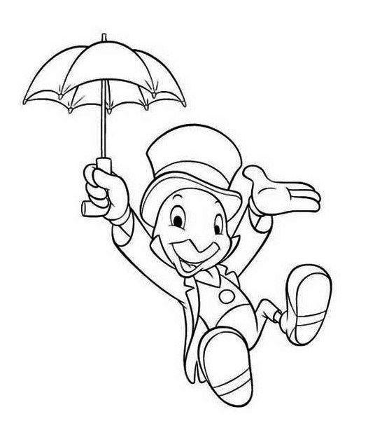 546x631 Jiminy Cricket Disney Mural Coloring Page Disney Coloring