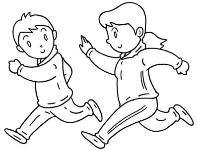 397x305 Jogging Coloring Pages