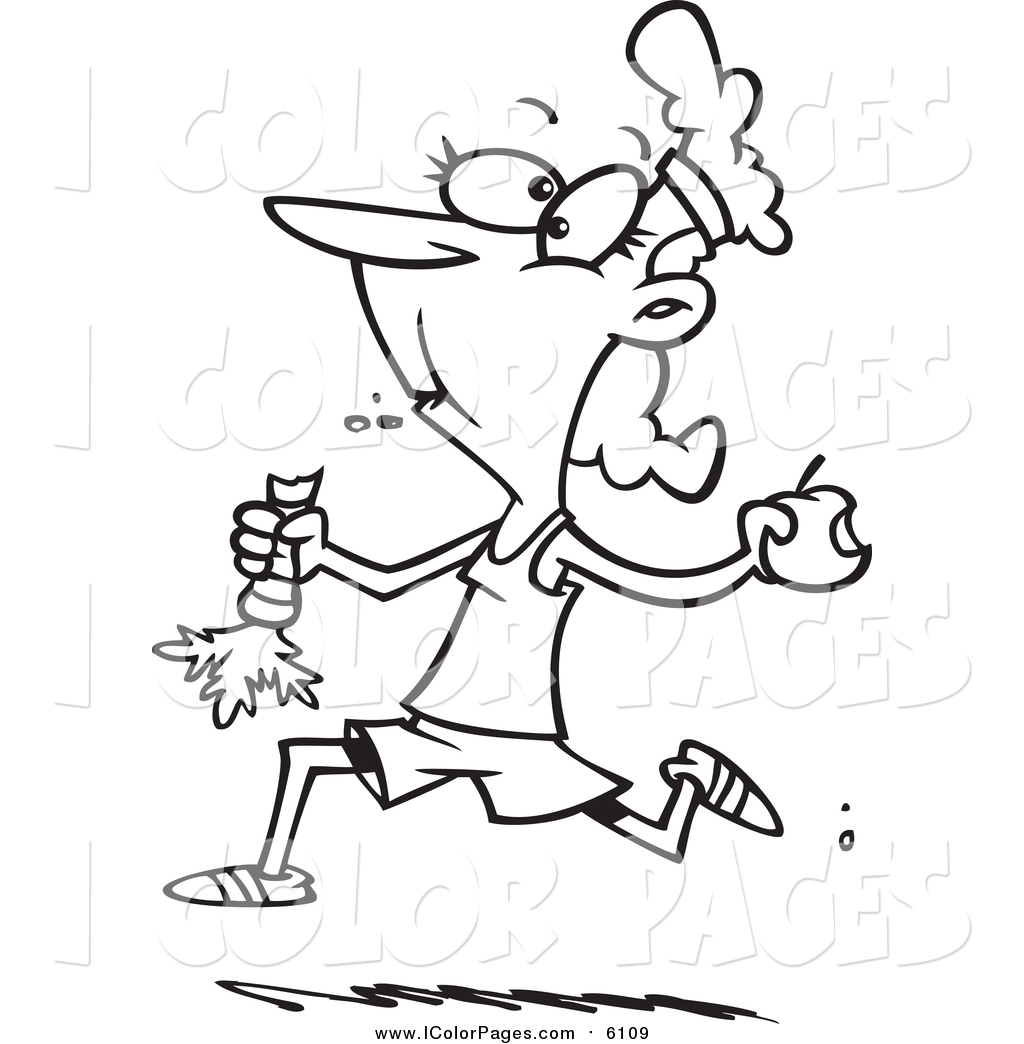1024x1044 Vector Coloring Page Of A Jogger Eating Her Fruits And Veggies