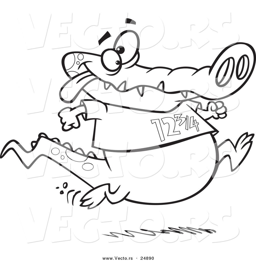 1024x1044 Vector Of A Cartoon Jogging Alligator