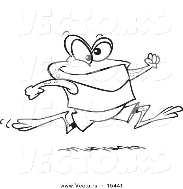 600x620 Vector Of A Cartoon Jogging Frog