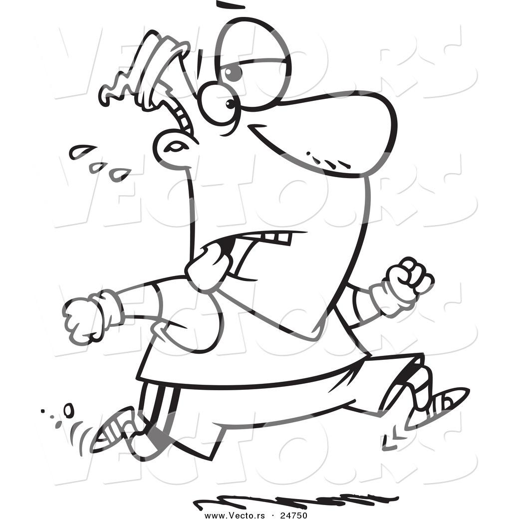 1024x1044 Vector Of A Cartoon Tired Man Jogging