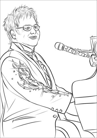 339x480 Elton John Coloring Page