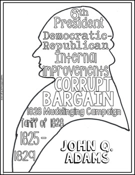 270x350 John Quincy Adams Coloring Page And Word Cloud Activity
