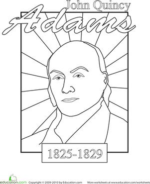 301x370 Color A U S President John Quincy Adams Worksheet