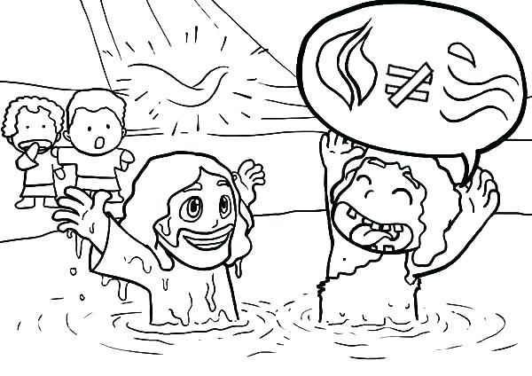 600x424 Jesus Baptism Coloring Page Baptism Coloring Page Photos Baptism