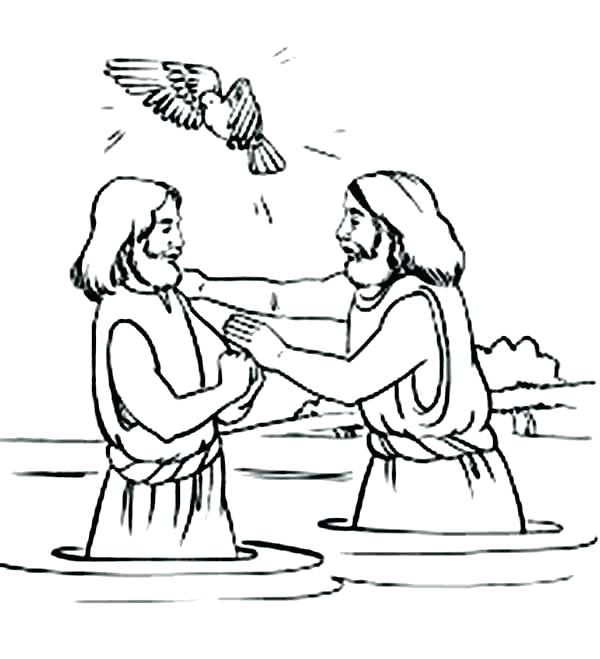 600x659 Jesus Baptism Coloring Pages Baptism Coloring Pages Holy Spirit