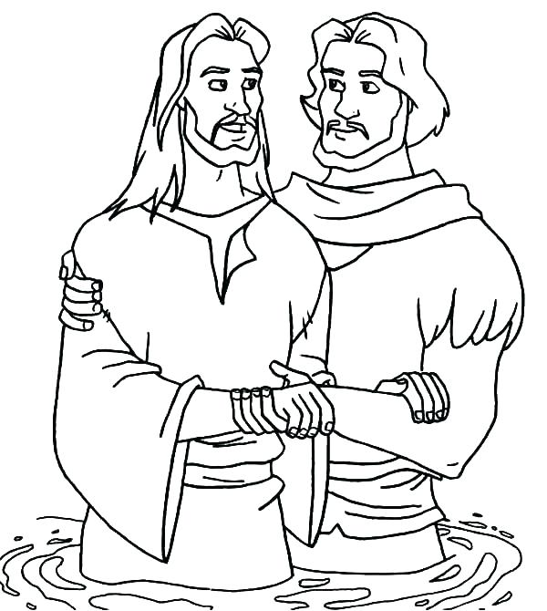 600x670 Jesus Baptism Coloring Pages Coloring Pages Baptism Coloring Page
