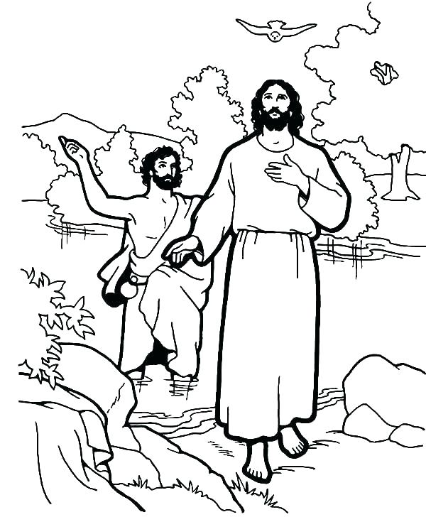 600x728 Jesus Baptism Coloring Pages Week Baptism John The Baptist