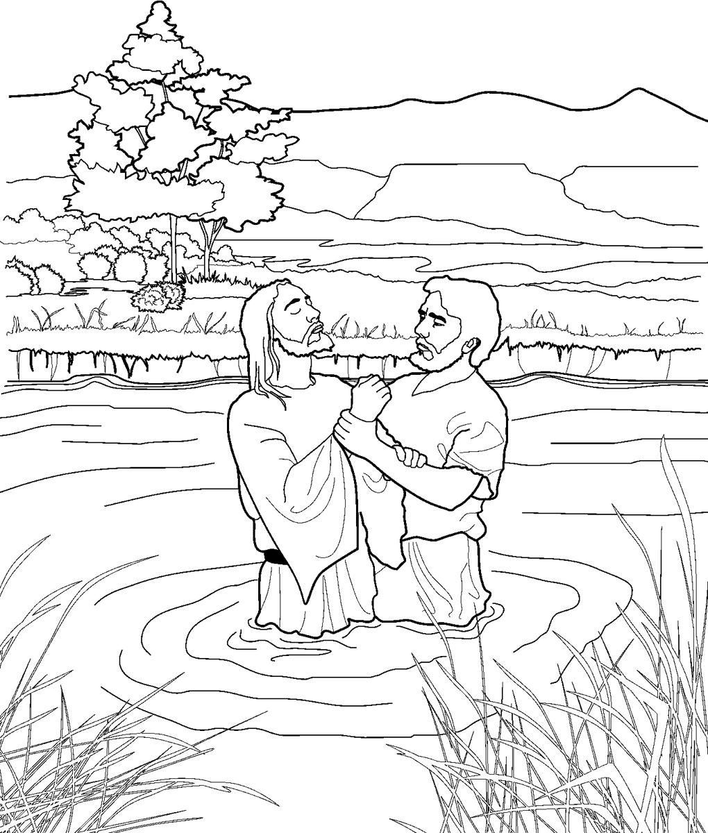 1020x1200 John Baptizing Jesus Coloring Page