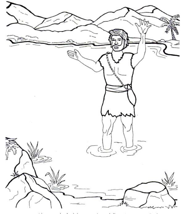 600x696 John The Baptist In The River Coloring Page