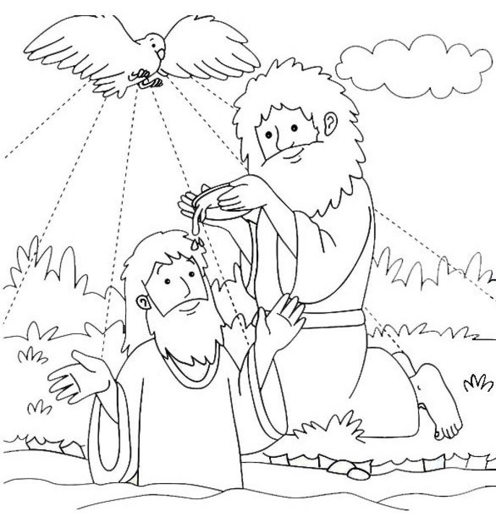 982x1024 Alert Famous Baptism Coloring Pages Printables Advice John