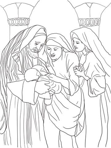 360x480 Zechariah, Elizabeth And Baby John The Baptist Coloring Page
