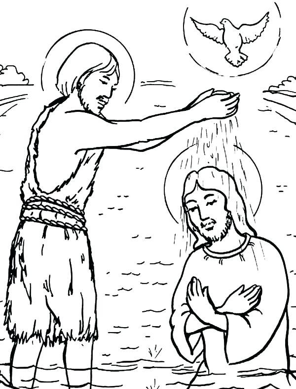 600x786 Baptism Of Jesus Coloring Page Captivating Jesus Baptism Coloring
