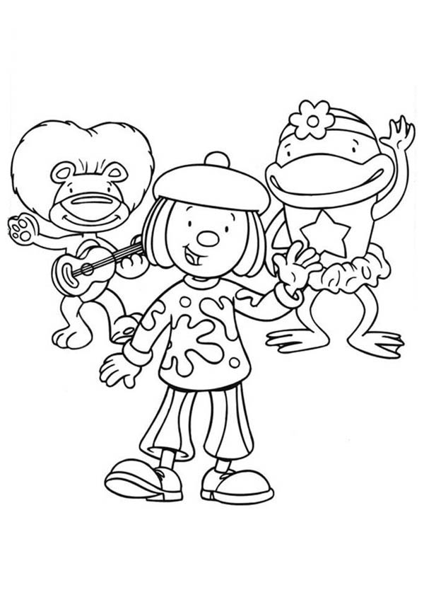 600x834 Jojo And Friends Singing Together In Jojo's Circus Coloring Page