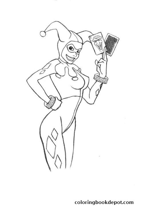 500x718 With Joker Cards Harley Quinn Coloring Pages