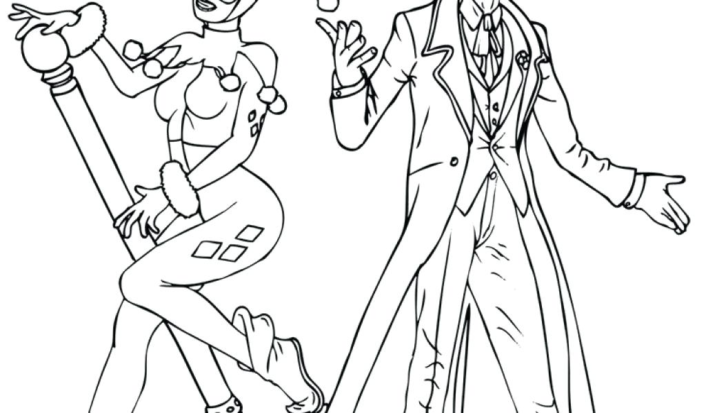 1024x600 Joker And Harley Quinn Coloring Pages Printable To Sweet Print