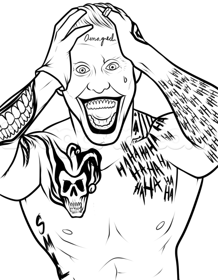 732x940 Suicide Squad Joker Coloring Pages
