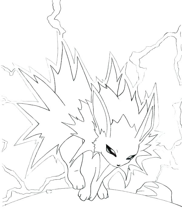 600x720 Jolteon Coloring Pages Coloring Pages Coloring Pages With Lighting