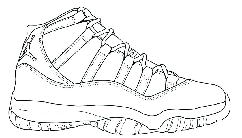 photograph regarding Sneaker Coloring Page Printable called Jordan Shoes Coloring Internet pages at  No cost for