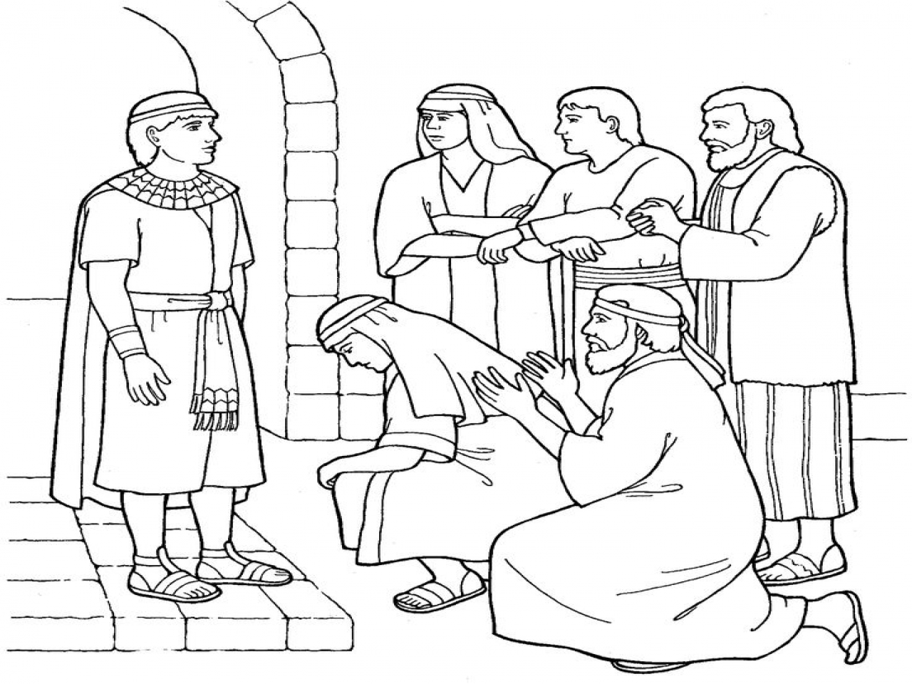 1280x960 Pictures Joseph Forgives His Brothers Coloring Page