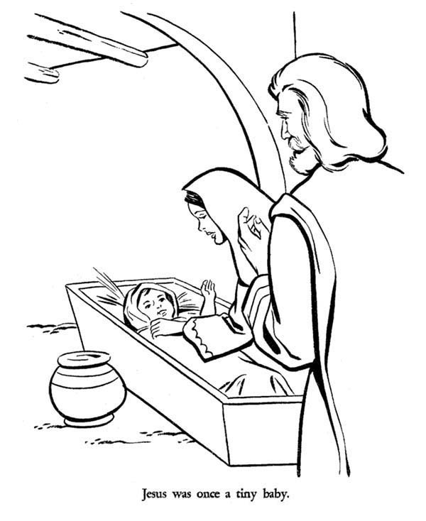 600x734 Mary And Joseph And Baby Jesus Bible Christmas Story Coloring