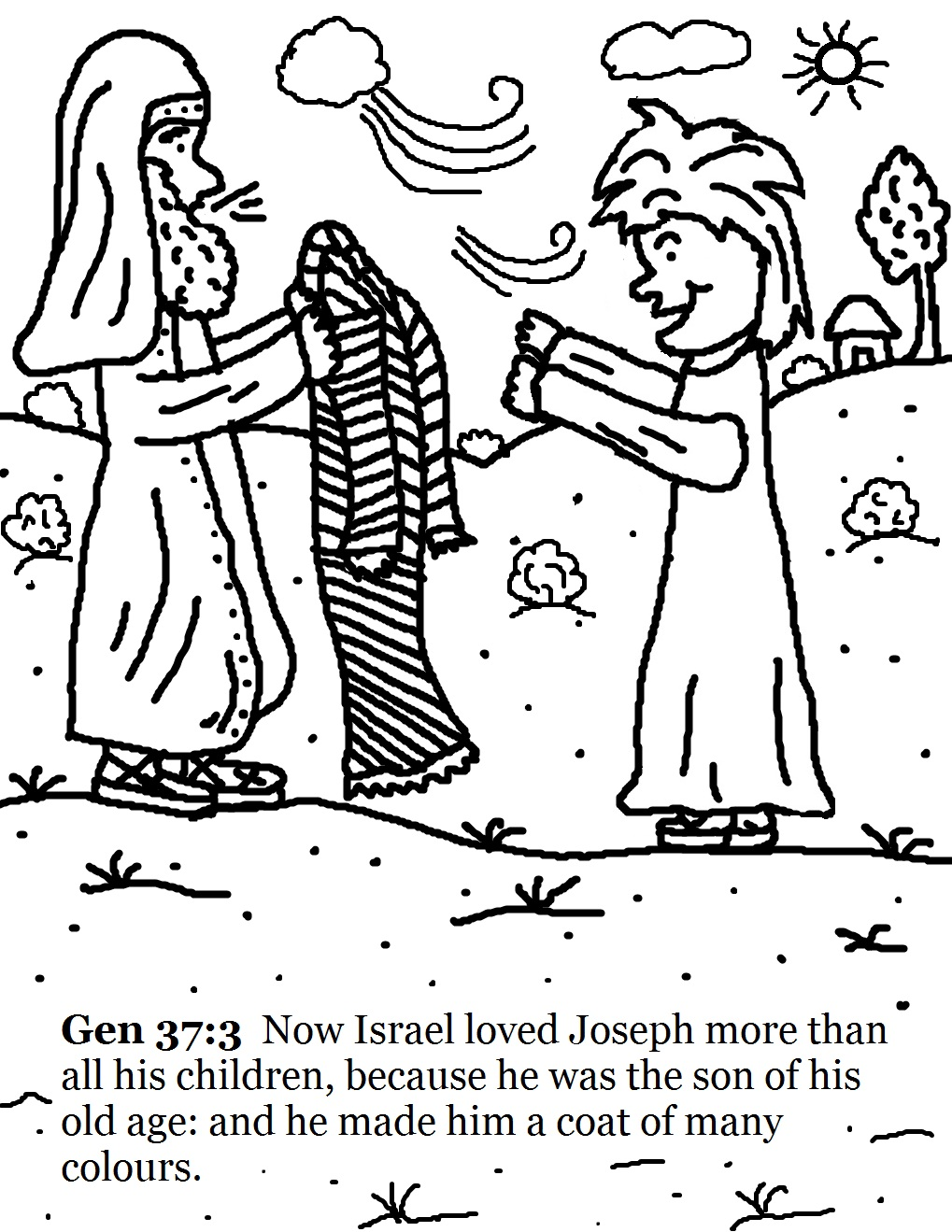 1019x1319 Terrific Joseph And His Coat Of Many Colors Coloring Page Free