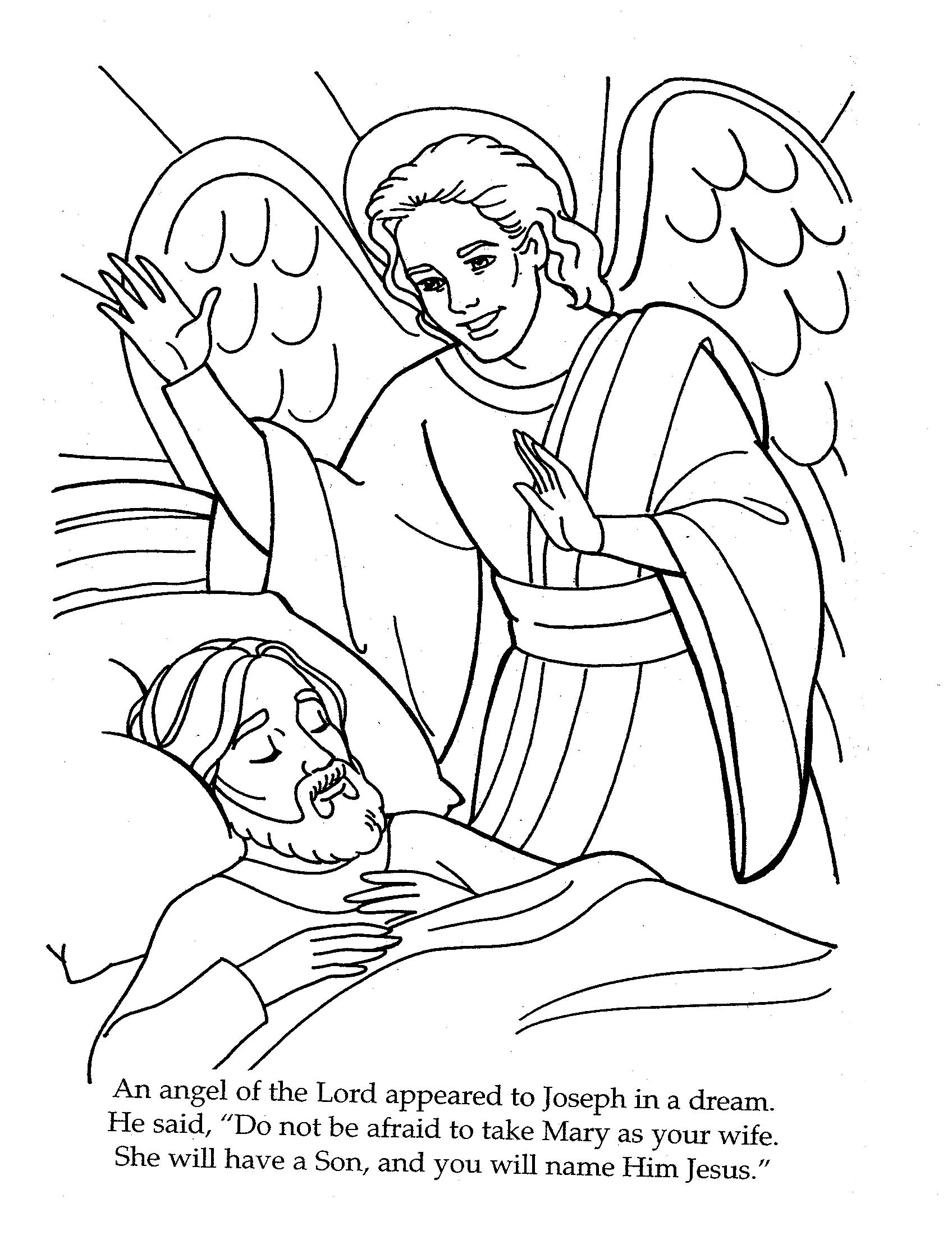 1696x2200 The Angel Visits Joseph Coloring Page