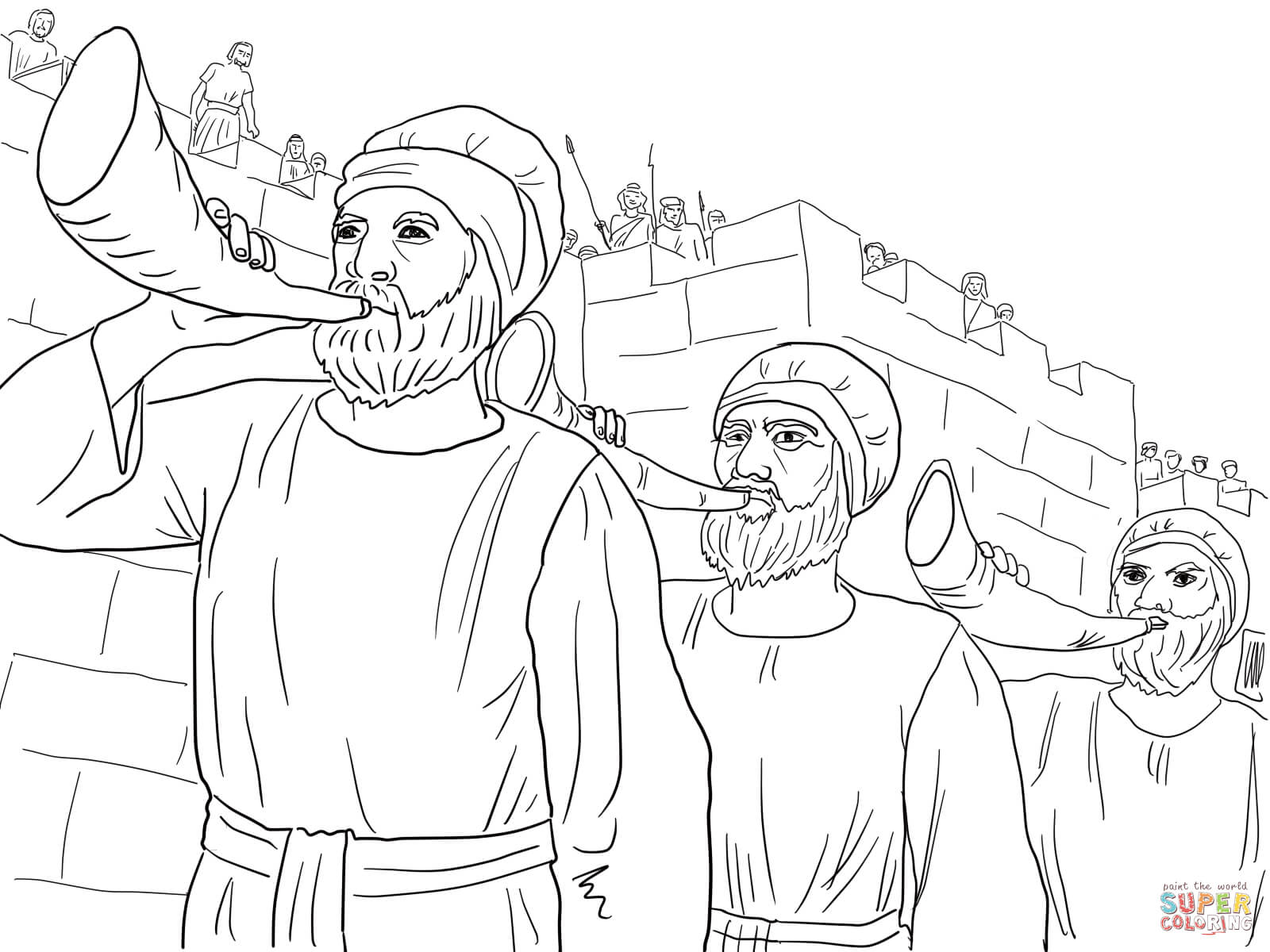 1600x1200 Joshua And The Battle Of Jericho Coloring Page Walls