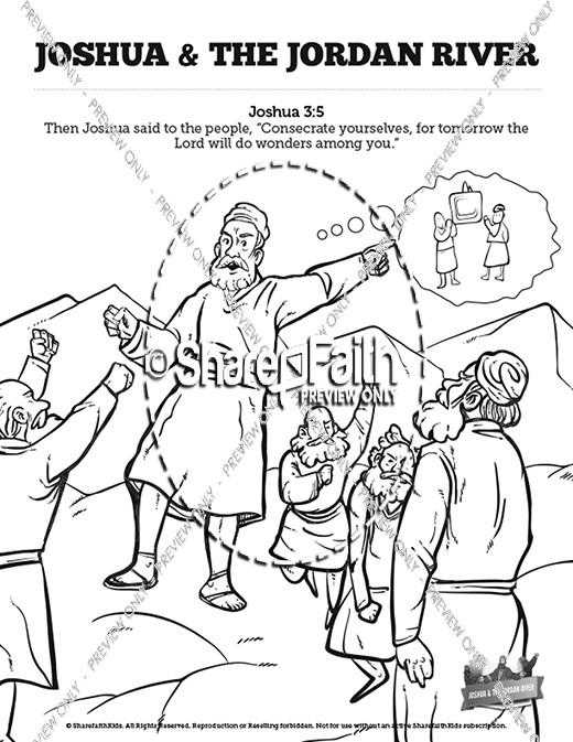 520x673 Joshua Crossing The Jordan River Sunday School Coloring Pages